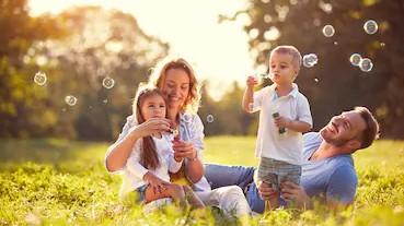 family-children-blow-soap-bubbles-260nw-593061179